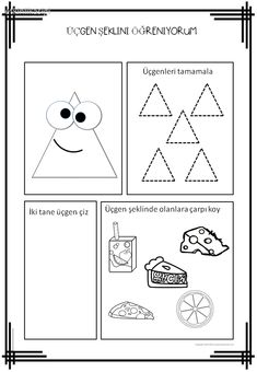 Blends Worksheets, Shapes Worksheets, Writing Worksheets, Writing Activities, Preschool Printables, Preschool Worksheets, Preschool Activities, Triangle Worksheet, Printable Shapes