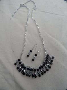 Black and Silver beaded fringe necklace and by TheVelvetMannequin