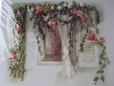 my version the window with organza curtain and ribbon work roses