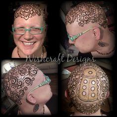 Dalek Henna Crown - Doctor who henna - Henna Crown by Kristina Loeffler of Wishcraft Designs - head henna - henna for cancer and alopecia - bald is beautiful
