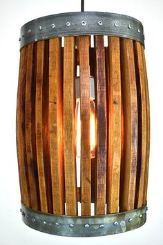 Wine Barrel Hanging Pendant Light Basket by winecountrycraftsman