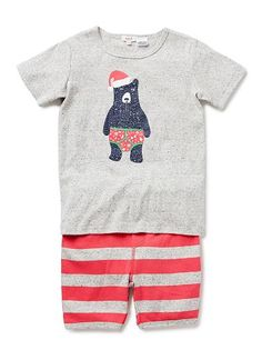 100% Cotton 1x1 rib short sleeve pjs with all over stripe shorts and Christmas Bear placement print.