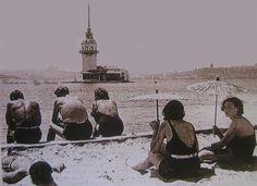 Salacak Plajı, Üsküdar, İstanbul. 1940'lar.