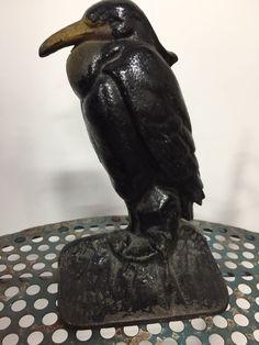 Antique Original Heron Bird Cast Iron Doorstop Door Stop Stamped #39 picclick.com