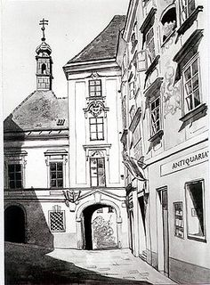 Old Viennese Courtyard by Johannes Margreiter Architectural Sketches, Framed Prints, Canvas Prints, Vienna, Tapestry, Black And White, Architecture, Artwork, Artist