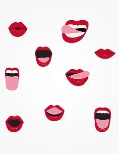 lip and mouth illustrations Illustration Inspiration, Art Et Illustration, Pattern Illustration, Textures Patterns, Print Patterns, Pop Art, Design Art, Graphic Design, Pattern Design