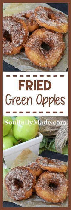 Fried Green Apples are a simple and tasty treat. Apple slices dipped in batter, deep fried, and sprinkled with cinnamon sugar. Fried Green Apples are a simple and tasty treat. Apple slices dipped in batter, deep fried, and sprinkled with cinnamon sugar. Best Dessert Recipes, Fruit Recipes, Fall Recipes, Sweet Recipes, Delicious Desserts, Cooking Recipes, Yummy Food, Recipies, Dinner Recipes