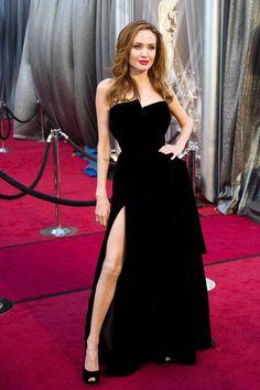 Of course Angelina and her black velvet vampirese dress
