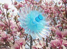 Aqua Iridescent Garden Art, Glass Flower Suncatcher, Garden Decoration, Outdoor Yard Art, Colorful Gift For The Gardener, Mothers Day Gift