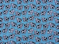 Animals print Cows printed on Blue poly cotton fabric bunting seaside duvet quilting crafts dress making patchwork Fabric by the Metre