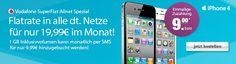 Vodafone SuperFlat Allnet Spezial mit Apple iPhone 4 für 19,99 EUR im Monat