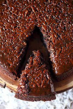 Coconut Caramel Chocolate Upside Down Cake {mind-over-batter.com}