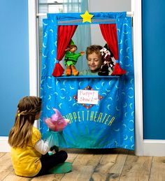 "Doorway Puppet Theater. 2-4 only 47""hi. like shelf but tension rod reviews say it is flimsy. $50+?"