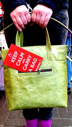 Keep calm with a lime green zip tote by velvetmutineer