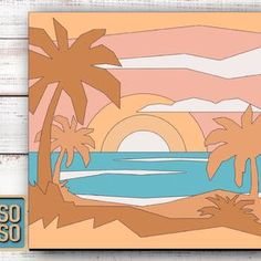 Seascape with boat SVG laser cut files for Glowforge. Home   Etsy Layer Pictures, Jigsaw Puzzles For Kids, Laser Cut Files, Easy Paintings, Laser Cutting, Cutting Files, Create Yourself, Etsy Seller, Boat