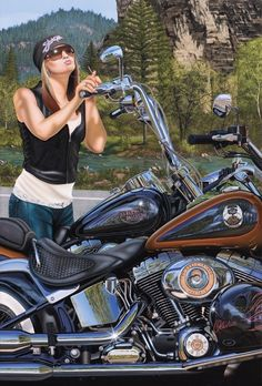 """""""In Your Dreams"""" by Scott Jacobs This was 2008 Sturgis Magazine cover piece. The background is Spearfish Canyon in South Dakota, where Strugis Motorcycle Rally is held every year. It was also the first painting his oldest daughter, Olivia was in."""