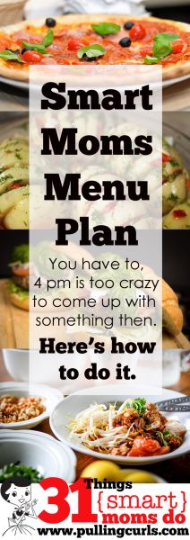 Menu planning is a necessity for moms. You HAVE to know what's for dinner early in the day because 4 pm hits and you want to dive into the trenches (with some tasty food). #pullingcurls