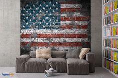 """Bildtapete USA Flagge - Ein toller Hintergrund für die Wand bietet die Flagge Amerikas, die """"Stars and Stripes"""", auf der Mauer. Wer es """"all American"""" liebt, wird damit sein Zimmer richtig aufpeppen.Motivtapeten fürs Kinderzimmer..."""