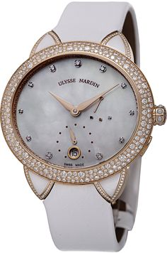 Ulysse Nardin Jade Ladies Diamond Rose Gold Automatic Watch 3106-125BC/991. 18K rose gold case (36 mm x 39 mm, 11 mm thick), Sapphire crystal screw-in case-back with diamonds set on the rotor, Bezel set with the diamonds, White ceramic lugs rimmed with diamonds, White mother-of-pearl dial, Rose gold-tone hands, Eleven diamond hour markers, Small seconds sub-dial displayed at the 6 o'clock position, Date aperture at the 6 o'clock position, Three functions of the crown to wind the movement...