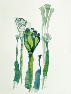 Valeria Kondor - emerald flowers (original watercolor)