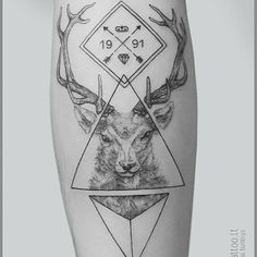 Stag tattoo by Mindaugas Bumblys