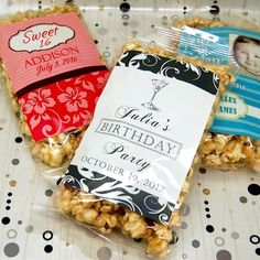 This personalized birthday caramel corn is just the thing. Custom packaging makes these treats perfect for birthday, sweet and adult birthday Party Favors For Adults, Party Favors For Kids Birthday, Birthday Treats, 11th Birthday, Make Your Own Labels, Curious George Birthday, Caramel Corn, Sweet 16, Party Ideas