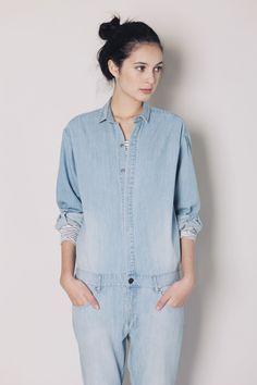 "dd5bc3d7c6 my-chameleon  "" Olivia wearing Therese Rawsthorne Denim Boilersuit   Le  Mont St. Michel Long Sleeve T-shirt "". Ann Huong · Oversized Denim Jacket"