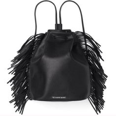 Leather Fringe Victoria's Secret Bag Vegan-friendly black leather backpack bookbag bag, NWT never been used! Open to offers and trades! :) Victoria's Secret Bags Backpacks
