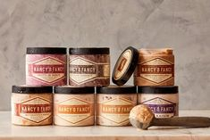 Nancy Silverton's Nancy's Fancy Sorbetto & Gelato Ice Cream Packaging, Glass Packaging, Craft Packaging, Food Packaging, Product Packaging, Product Branding, Vintage Packaging, Label Design, Graphic Design