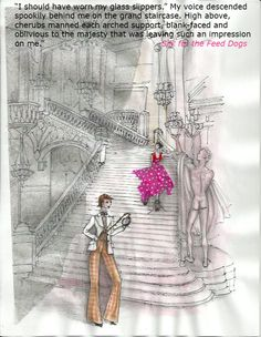 Descending the grand staircase of the House of Adriani Unique Settings, Grand Staircase, Novels, Author, Silk, Drawings, Illustration, Dogs, Inspiration