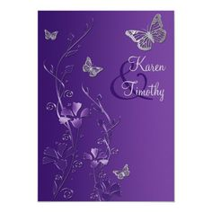 Purple and Silver Floral with Butterflies Invite Butterfly Wedding Theme, Butterfly Wedding Invitations, Spring Wedding Invitations, Floral Wedding Invitations, Bridal Shower Invitations, 21st Invitations, Bat Mitzvah Invitations, Custom Invitations, Purple And Silver Wedding