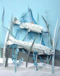 for Happinez Magazine by artist Helen Musselwhite, paper cut art Paper Book, 3d Paper, Origami Paper, Paper Fish, Kirigami, Helen Musselwhite, Paper Engineering, Book Sculpture, Paper Sculptures