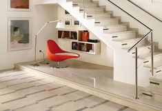 Contemporary Under Stairs Reading Nook