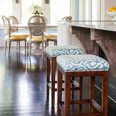 Island with Turquoise Nailhead Stools, Transitional, Kitchen