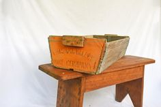 Rustic Wooden Crate  Vintage Wooden Trug by Vintassentials on Etsy