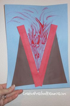 This week we are working on letter Vv. For our letter shape study we made letter V into a volcano that is spewing lava! Preschool Letter Crafts, Alphabet Letter Crafts, Abc Crafts, Preschool Projects, Daycare Crafts, Alphabet Activities, Preschool Activities, Letter Tracing, Alphabet Book