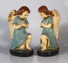 Pair of Antique French Church Angel Statues Painted Plaster | eBayhttp://www.ebay.com/itm/Pair-Antique-French-Church-Angel-Statues-Painted-Plaster-/271679310323?pt=Antiques_Decorative_Arts&hash=item3f415949f3