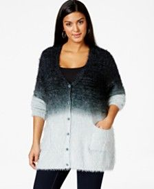 Melissa McCarthy Seven7 Plus Size Button-Down Eyelash Cardigan