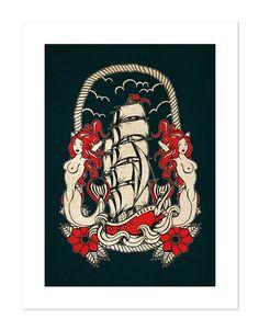 Bateau Voyage de sirène Neo-traditionnel tatouage par BlackMast