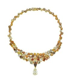 A Rare Natural Fancy Coloured Diamond Necklace