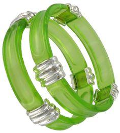 Set Of 2 Lucite Silver Tone Green Bangle Bracelets