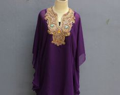 Very Fancy Chiffon Caftan Moroccan with Sequin Embroidery detailed. ✿ The fabric is made of Polyester Top Quality ✿ The Caftan is high quality sheer