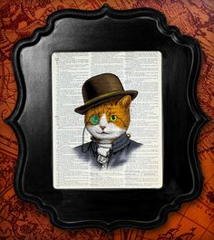 STEAMPUNK CAT Art Print CAT Decor Cat Painting Cat Portrait, Steampunk Print, Dictionary Art Print Quirky Cat Wall Art Poster, Hat Cat Kitty. $10.00, via Etsy.