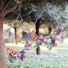 Hanging Floral Hula Hoop Wreaths for Wedding
