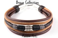 5B-373 Aussie Made Sterling Silver Leather Unique Men Bangle Wristband Bracelet.