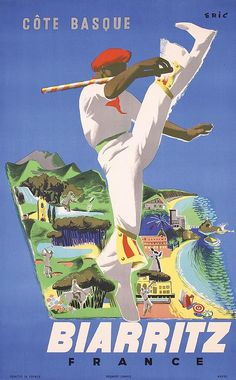 Biarritz poster by Eric. Lithography from ca Parisposters only offers original vintage posters. Vintage Beach Posters, Vintage Advertising Posters, Vintage Ski, Vintage Advertisements, Poster Vintage, Biarritz France, Hotels In France, Art Deco Paintings, Ski Posters