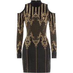 Balmain Embellished Dress ($2,070) ❤ liked on Polyvore featuring dresses, vestidos, black, balmain dress, cut out dresses, zip back dress, slimming cocktail dresses and slim fit dress