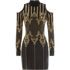 Balmain Embellished Dress (€1.975) ❤ liked on Polyvore featuring dresses, vestidos, black, fitted dresses, slimming dresses, cut out dresses, balmain and embelished dress