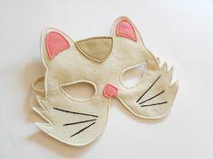 White Cat Carnival Kids Animal Mask, Children Kitty Felt Mask, Dress up Costume Accessory, Boys, Girls, Toddlers Felt Pretend Play. €11.00, via Etsy.