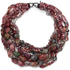 Alexis Bittar Elements Mystic Bordeaux Semi-Precious Multi-Stone... ($330) ❤ liked on Polyvore featuring jewelry, necklaces, apparel & accessories, bordeaux, beaded necklaces, semi precious jewellery, chunk jewelry, semi precious necklace and multi stone necklace